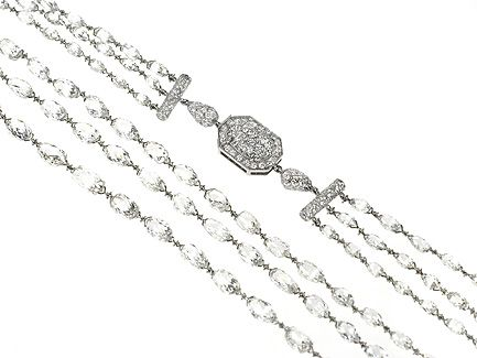 Platinum Three row Platinum Diamond Navette briolette necklace. Diamond weight 52.50cts  http://www.luciecampbell.com/necklaces/All/1350--1/  £ContactUs  richard@luciecampbell.com  Lucie Campbell Jewellers Bond Street London  http://www.luciecampbell.com