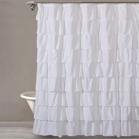 Style Quarters Bianca Ruffle Microfiber Shower Curtain White