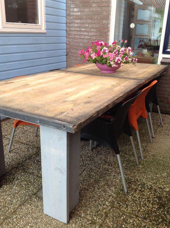 tafel van steenschotten en steigerhout tuin pinterest ForTafel Van Steenschotten