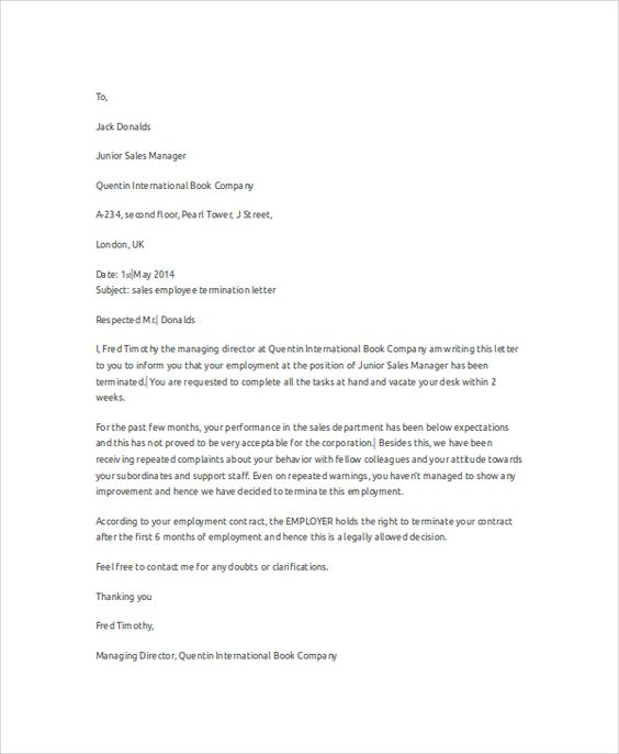 Sample Employee Termination Letter Examples Word Pdf Free Home   Company Termination  Letter  How To Write A Termination Letter To An Employee