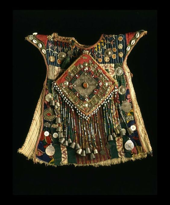 Chlld's dress from Turkomen,  Afghanistan - Cotton, wool, metal bells, beads, buttons and shells