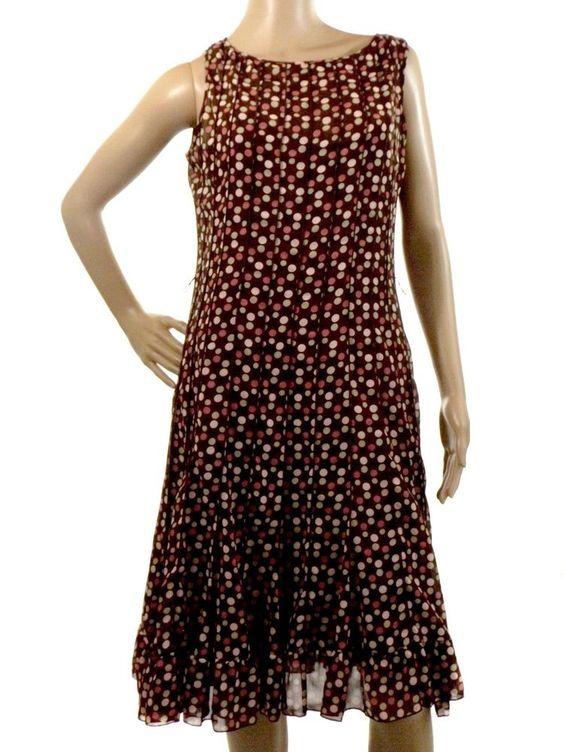 Sandra Darren Size 8 Sleeveless Brown Polka Dot Sheer Lined Dress Knee Length #SandraDarren #Shift #Casual
