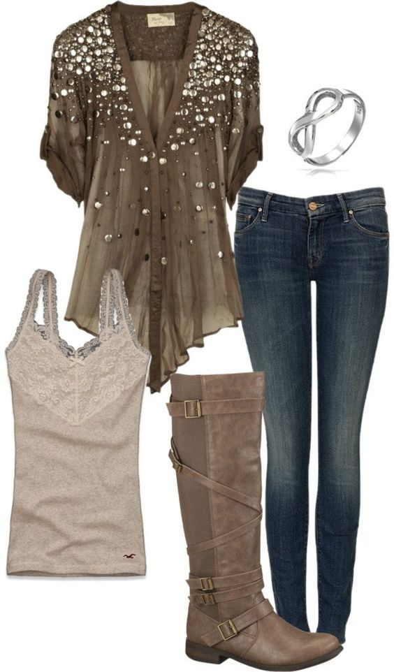 How fun is this look? But hey, I'm a sucker for sparkles on anything! Put 'em on a beautiful, but comfy blouse I can pair with a cami, jeans and boots? SOLD!