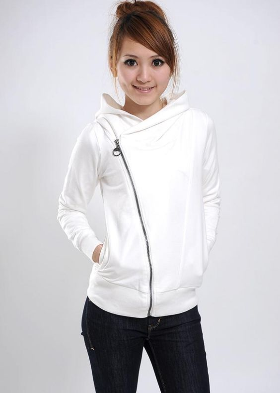womens sweaters | Fashion Woman Diagonal Zipper Hooded Slim