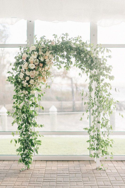 Greenery Wedding Ceremony Arch Greenery Covered Trellis With White Flowers Garden Weddi Wedding Arch Flowers Arch Decoration Wedding Wedding Ceremony Arch