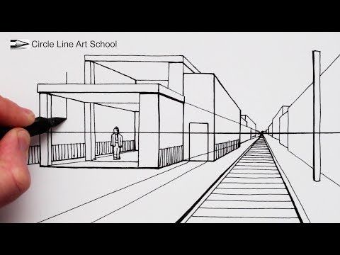 1 How To Draw A Modern House In 1 Point Perspective With Train