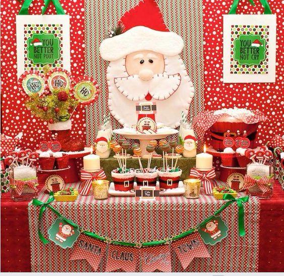 Mesa de dulces para navidad mesa de navidad pinterest for Decoracion navidena infantil
