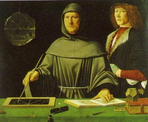 """Luca Pacioli (1445 - 1514, sometimes """"Paciolo"""") is the central figure in this painting (by Jacopo de Barbari*, 1495).  Perhaps no other work so epitomizes the deep Renaissance connection between art and mathematics.  Pacioli (a Franciscan friar, shown in his robes) stands at a table filled with geometrical tools (slate, chalk, compass, dodecahedron model, etc.), illustrating a theorem from Euclid, while examining a beautiful glass rhombicuboctahedron half-filled with water."""