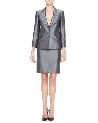Alexander Wang Suiting Blazer & High Waist Pencil Skirt with Sheen - Neiman Marcus