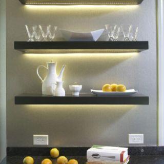shelves floating shelves and lights on pinterest. Black Bedroom Furniture Sets. Home Design Ideas
