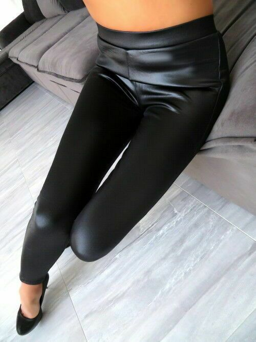 Hose Schwarz Top Leder Optik Warm Leggings Stretch Damen Neu T37