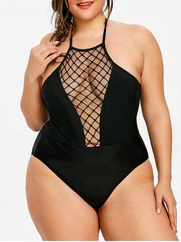 49df58b3c0b26 Black 2xl Plus Size Halter Neck One Piece Swimwear