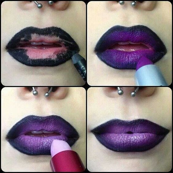 Ombre purple lips:
