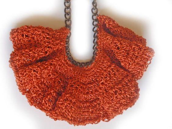 Textile Bib Necklace   The Orange Sunset by narcizoNYC on Etsy