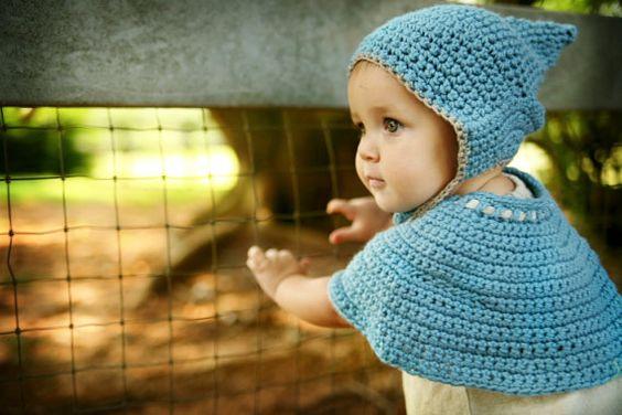 Crochet Pixie Hat and Cape Set- Hand Knit - Eco Friendly