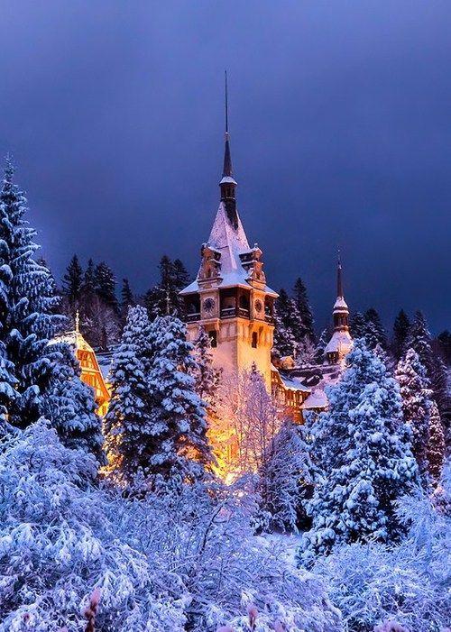 Snowy Night, Peles Castle, Romania photo via sandi. Just love the light in this photo.