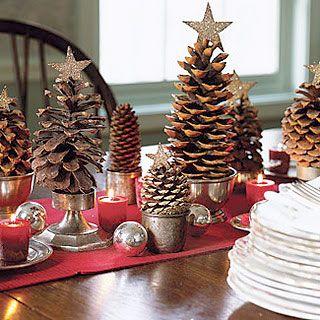Decoraciones navideñas con piñas - estilo y decoración