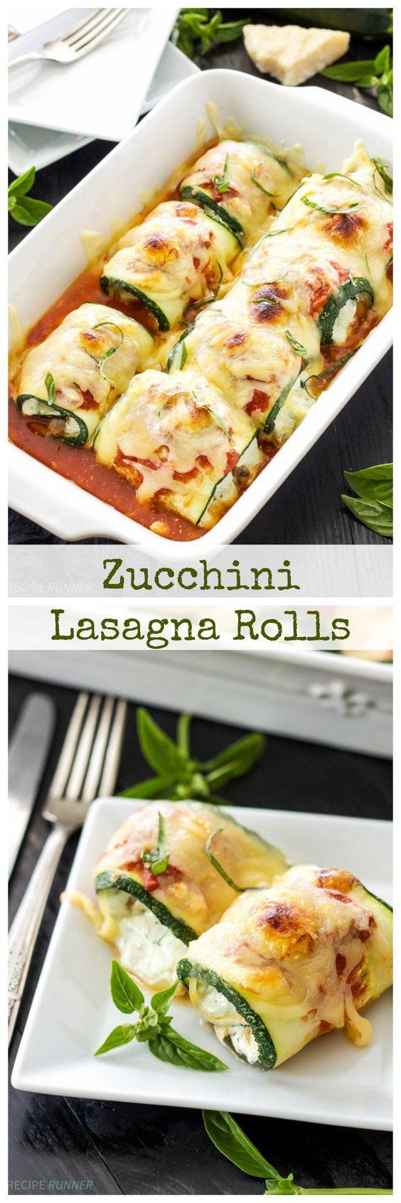 Zucchini Lasagna Rolls   Use zucchini instead of pasta in this healthy, gluten free lasagna recipe!: