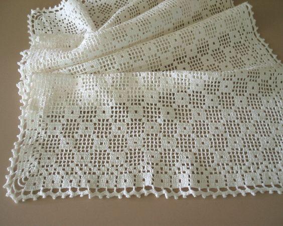 Free Crochet Patterns For Dresser Scarves : Large Rectangular Filet Crochet Table Runner Dresser Scarf ...