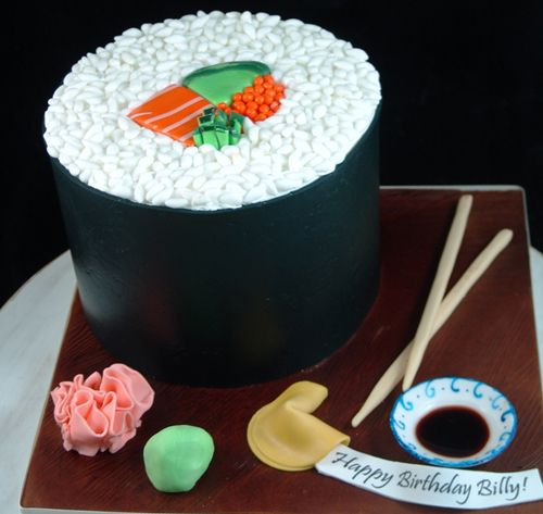 Fabulous Sushi Cake For Birthday Celebration Sushi Cake Birthday Sushi Personalised Birthday Cards Veneteletsinfo