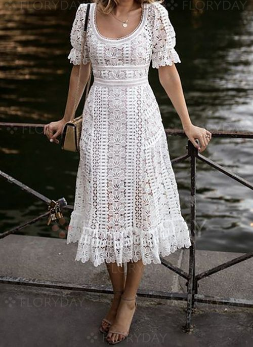 Solid Lace Short Sleeve Midi Shift Dress Floryday In 2019