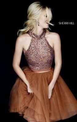 Beaded Flared Dress by Sherri Hill 11306: