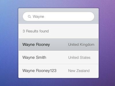UI Search dropdown
