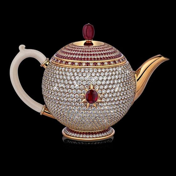 Egoist: the most expensive teapot in the world ~ Designed and commissioned by Mr Sethia (Newby Teas of London), the Egoist teapot was made by the Milanese jeweller Scavia. It is entirely paved in 1,658 D and E colour grade diamonds and 386 rubies, with a central 6.67 carat Thai ruby. A ruby bead tops the lid.