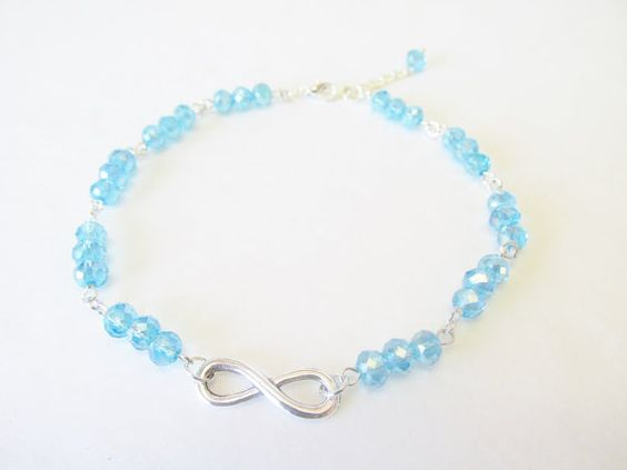 Infinity Loop Anklet  Blue Crystal Jewelry  Blue by CrystalGirlz