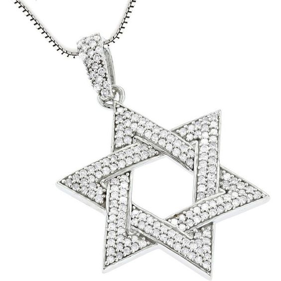 Luxurman Sterling Silver 5/8ct TDW Diamond Star of David Pendant ($290) ❤ liked on Polyvore featuring jewelry, pendants, white, sterling silver round pendant, round pendant, star of david pendant, sterling silver jewelry and long pendant