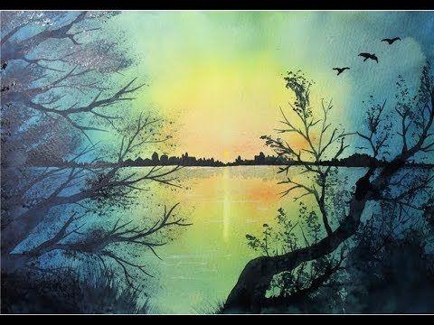 Ganz Einfach Aquarellmalen Lernen 12 Morgendammerung Am See Youtube Aquarell Aquarelle Landschaften Aquarell Landschaften