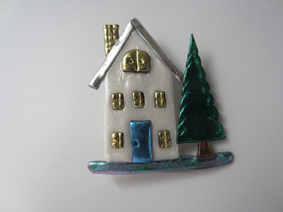 House with blue door pin brooch by Pinderella on Etsy, $11.95