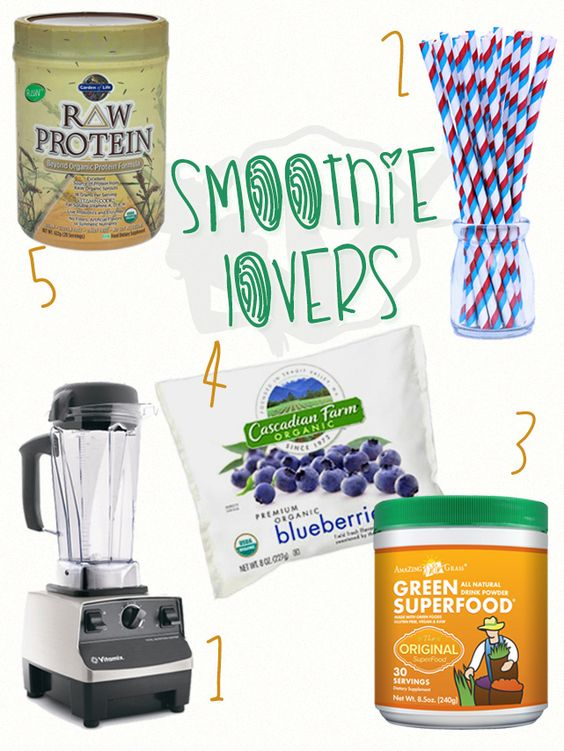 1.Una buena licuadora es el objeto del deseo de todo smoothie lover. La Vitamix es una inversión segura. 2.Recomendamos pitillos de vidrio, para no andar consumiendo tanto plástico, igual