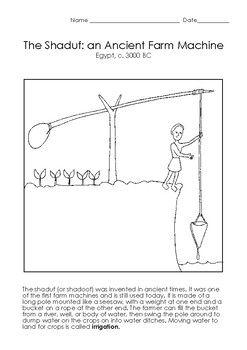 Shaduf Ancient Farm Machine Coloring Page | Ancient egypt for kids,  Ancient, Coloring pagesPinterest