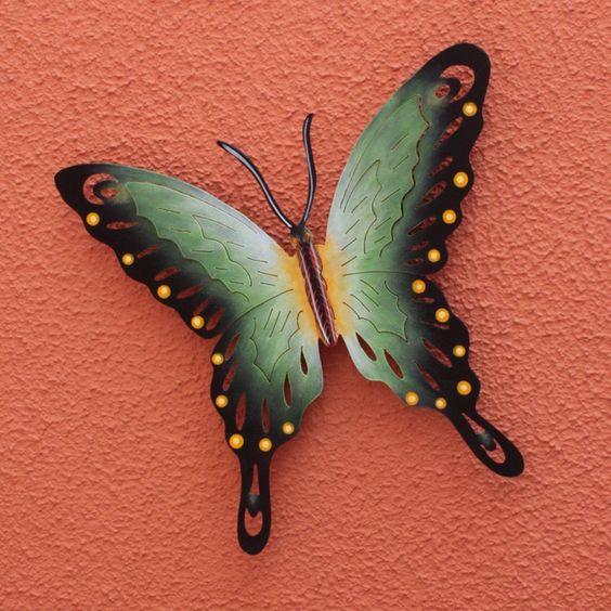 Novica Soul of Wisdom Indoor Outdoor Patio Garden Black Gold Rustic Handcrafted Decor Accent Butterfly Metal Wall Art