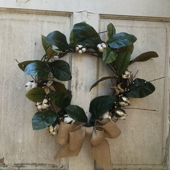 A personal favorite from my Etsy shop https://www.etsy.com/listing/491267265/cotton-boll-grapevine-wreath-from-espey