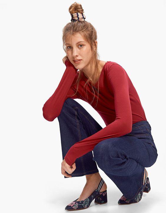 Camiseta cuello redondo - Camisetas | Stradivarius Colombia