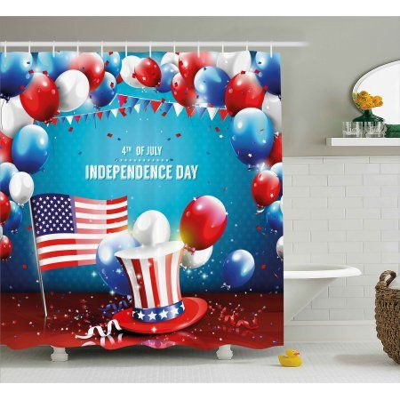 4th Of July Shower Curtain Grunge Design American Flag Background
