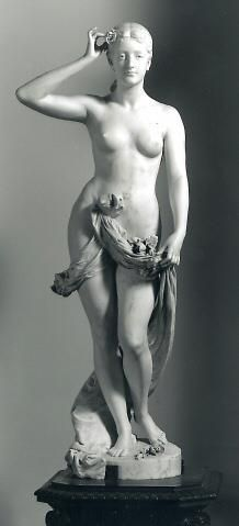 "California Venus sculpture, c. 1895  MARBLE. A beautiful sculpture with a tragic story behind it. Marian Nolan was 16 when she modeled for the sculpture, that was then presented at the worlds fair in Chicago under the name ""The California Venus"". Years later she was murdered by E. Marshuts whose affection she did not return. Marshuts shot Marian Nolan in the head, then shot himself in the head and fell dead to the sidewalk within a few feet of where the murdered woman lay breathing her last."
