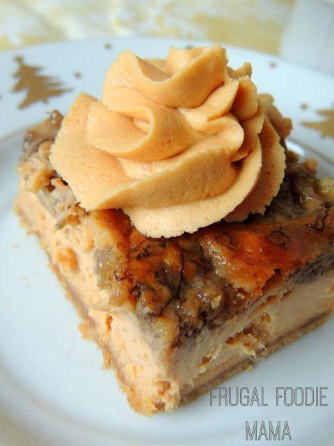 Bananas Foster Cheesecake Bars with Caramel Rum Frosting via thefrugalfoodiemama.com #cheesecake #bananasfoster #rum