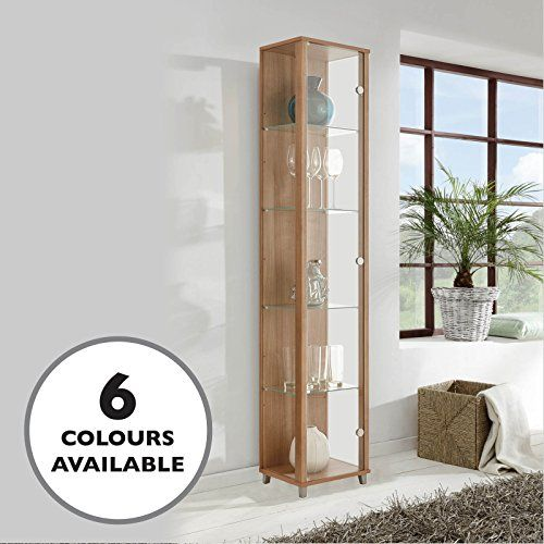 Home Single Glass Display Cabinet Oak With 4 Moveable Glass Shelves Spotlight Living Room Glass Cabinet House Furniture Design Glass Cabinets Display
