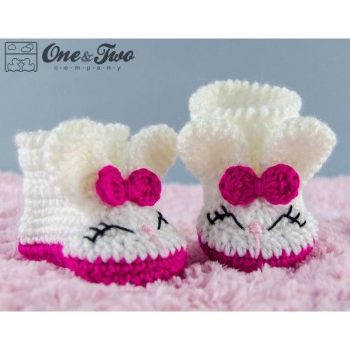 Olivia the Bunny Booties - Baby Sizes - Crochet Pattern by One and Two Company: