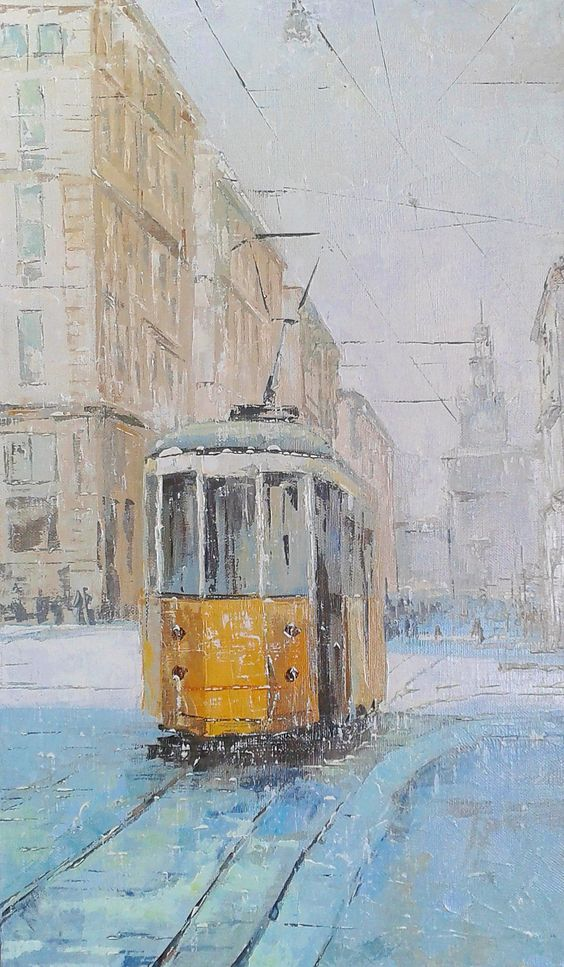 The yellow tram of Milan, Oil on Canvas, original painting $100 (in euro) 30 cm x 50 cm