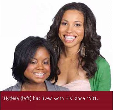 Hydeia Broadbent with her friend and actress Jurnee Smollett in the CDC Act Against AIDS campaign.