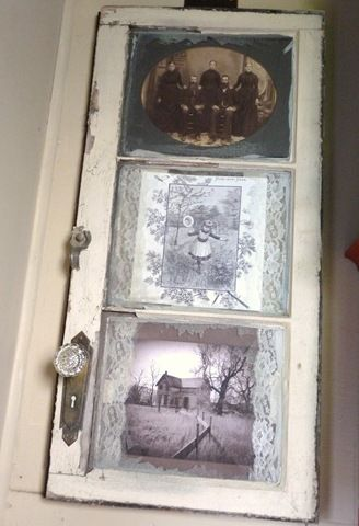 Fun Window scape...old cabinet door used to frame..old vintage pictures...: