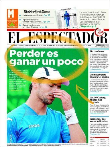 """El Espectador lleva a su portada el clásico colombiano que dice """"Perder es ganar un poco"""" (y merece celebrar) https://twitter.com/mberzosa/status/225225956065935361/photo/1"""
