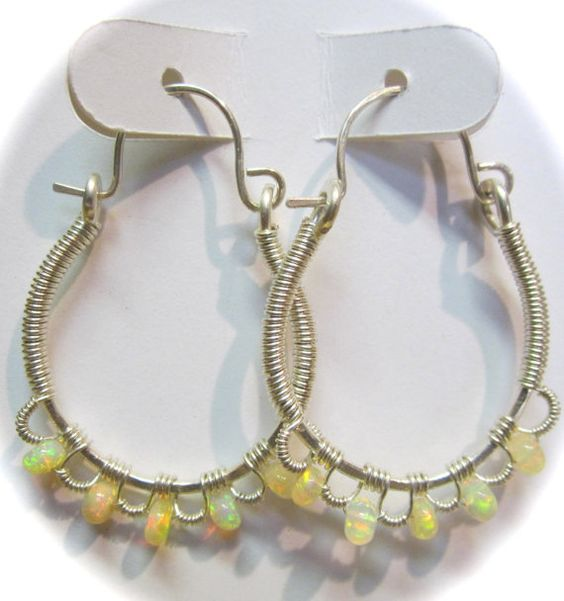 Ethiopian Opal and Sterling Silver Lace Hoop by Mariesinspiredwire
