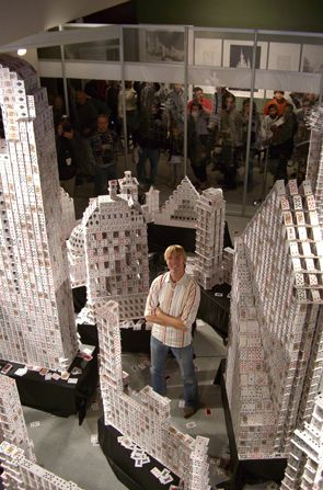 Bryan Berg, Cardstacker: He builds freestanding models using only playing cards - no glue or tape or any sort of connector. W. T. F.
