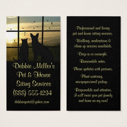 Cute Pet And House Sitting Business Cards House Sitting Cute