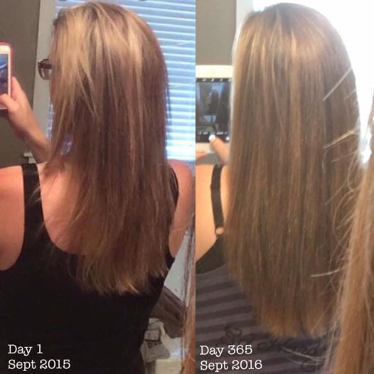 Photo Credit to Amy Murphy !! Check out her amazing results after musing Monat this past year Both photos:  Shampoo and condition with Monat Tiny drop of Rejuvenique Oil  Blow dry only  No heat tools Look how much thicker all the way through her ends! Haven't tried it yet? Let me know I just got a slew of samples in the mail!